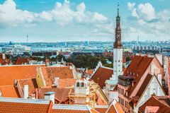Scenic summer aerial panorama of the Old Town architecture in Tallinn, Estonia royalty free stock photo