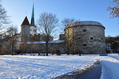 Tallinn old town wall in Winter, Estonia Royalty Free Stock Image
