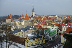 Tallinn old town winter panoramic view with fortress towers and Stock Photo