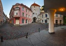 Tallinn onderaan Stad en Torenpoort aan de Hogere Stad, Tallinn Royalty-vrije Stock Fotografie