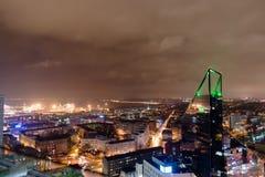 Tallinn, paisaje urbano de la noche Fotos de archivo libres de regalías