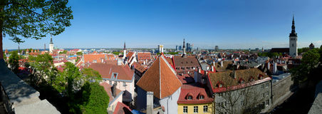 Tallinn Panorama. 180 degree panoramic view of Tallinn, Estonia, as seen from the upper city Stock Photos