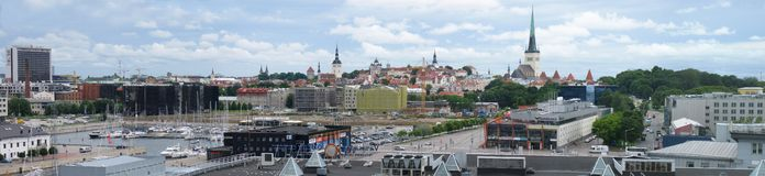 Tallinn panorama. Panorama of the medieval old town and modern town of Tallinn stock image