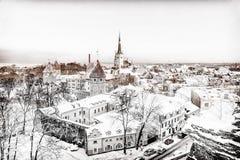 Tallinn panorama in winter morning Royalty Free Stock Photos