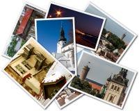 Tallinn Photos. A collage of Tallinn Estonian photos on the white background stock images