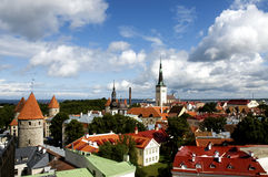 Tallinn's rooftops. View of St Olav's Church and surrounding rooftops, Tallinn, Estonia Royalty Free Stock Photos