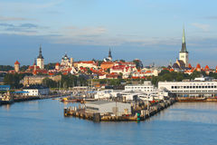 Tallinn with sea harbour Stock Images