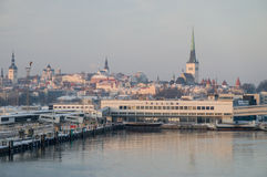 Tallinn sea port an old town background Stock Photography
