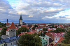 Tallinn, stary widok od Toompea wzgórza miasto Fotografia Stock
