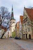 The Tallinn streets. Street in an old city. Tallinn, Estonia Stock Photos