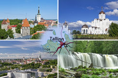 Tallinn in summer collage Royalty Free Stock Image