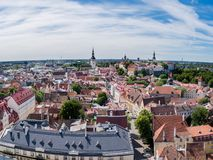 Tallinn on sunny summer day. The old town of Tallinn on a summer day as seen from the Oleviste church tower Stock Image
