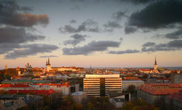 Tallinn Sunset Panorama. The skyline of the city of Tallinn, Estonia, during a winter sunset Royalty Free Stock Images