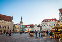 Tallinn Town Hall in ancient market square, Estonia Stock Photography