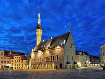 Tallinn Town Hall at dawn, Estonia Stock Images