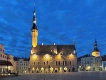 Tallinn Town Hall at dawn, Estonia Royalty Free Stock Images