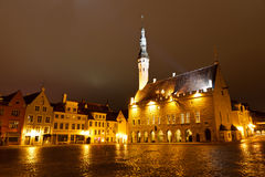 Tallinn Town Hall at Night Stock Photography