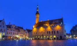 Tallinn Town Hall and Raekoja Square Stock Photos