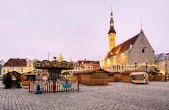 Tallinn Town Hall and Raekoja Square in the Morning, Tallinn, Es Royalty Free Stock Photos