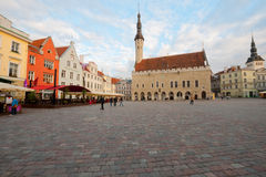 Tallinn Town Hall Square in the evening Royalty Free Stock Images