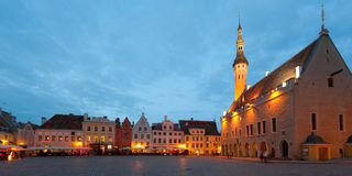 Tallinn Town Hall Square at night Stock Photos