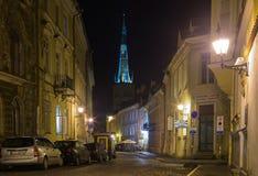 Tallinn velho na noite Fotos de Stock Royalty Free