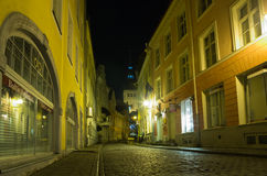 Tallinn velho na noite Imagem de Stock