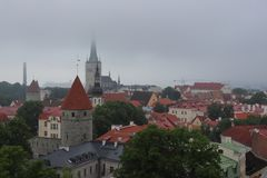 Tallinn very cloudy in summer on holiday. royalty free stock images