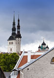 Tallinn. View of roofs and spikes of Catholic and orthodox cathedrals Stock Photos