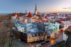 tallinn Vista aerea della città all'alba Fotografia Stock