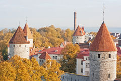 Tallinn wall towers Stock Photography