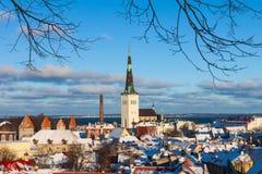 Tallinn zimy miasta panoramiczny krajobraz Fotografia Stock
