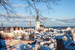 Tallinn zimy miasta panoramiczny krajobraz Obrazy Royalty Free