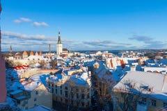 Tallinn zimy miasta panoramiczny krajobraz Obraz Royalty Free