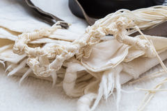Tallit in close up - tzitzit Royalty Free Stock Photo