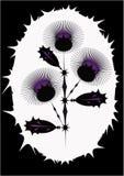 Tallo de flor estilizado en el de púas Fotos de archivo