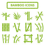 Tallos e iconos de bambú del vector de las hojas Plantas asiáticas del zen del bambu aisladas en el fondo blanco Foto de archivo libre de regalías