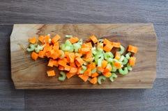 Tallos tajados de la zanahoria y del apio Foto de archivo