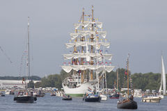 Tallship  arc gloria from colombia. Port of Amsterdam, Noord-Holland/ ,Netherlands - August 19 ,2015 : Sailors on the masts of the tall ship Arc Gloria from Royalty Free Stock Photos