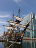Tallship docked in London. Old Swedish Sailing Ship docked in London's Canary Wharf business district royalty free stock images