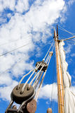Tallship mast. Over cloudy blue sky Royalty Free Stock Images