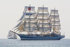 Tallship Mir under sail. Mir, a Russian three-masted full-rigged ship at full sail in Southern Baltic sea. The Tall Ships' Races 2013 Stock Images