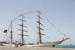 Tallship português Sagres III do treinamento da marinha, Praia, Cabo Verde Fotografia de Stock Royalty Free