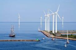 Tallship And Wind Farm Stock Photos