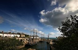 Tallships at Charlestown harbour. Charlestown harbour is situated approximately two miles from St Austell, the harbour and the surrounding houses have changed Stock Photography