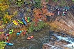 Tallulah Gorge Kayaking During uma liberação de água Fotografia de Stock Royalty Free