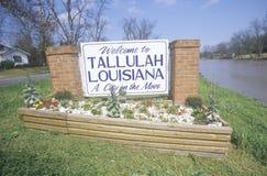 Tallulah Louisiana Welcome Sign Fotos de archivo libres de regalías