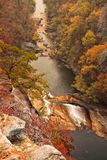 Tallulah River at Tallulah Gorge During the Autumn Season. Tallulah River in the Tallulah Gorge during the autumn season. A nearby wildfire creates a hazy Royalty Free Stock Images