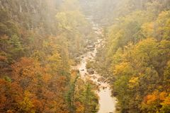 Tallulah River at Tallulah Gorge in Tallulah Falls Georgia. A nearby wildfire creates a hazy atmosphere and unusual colors. Blue Ridge Mountain range Royalty Free Stock Photos