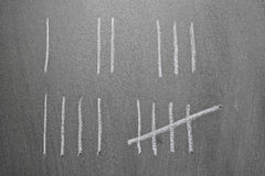Tally count. From one, two, three, four and five in chalk on blackboard royalty free stock image